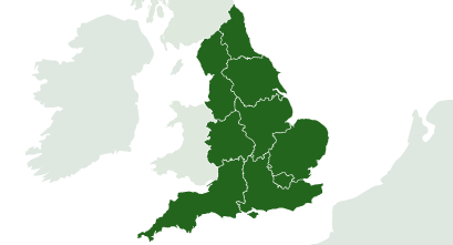Map of regions in England